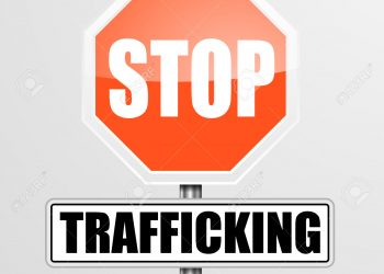 detailed illustration of a red stop Trafficking sign